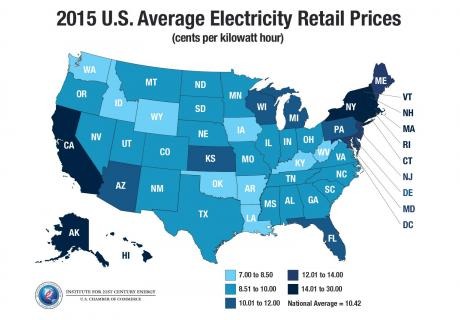Map: 2015 U.S. average electricity retail prices.