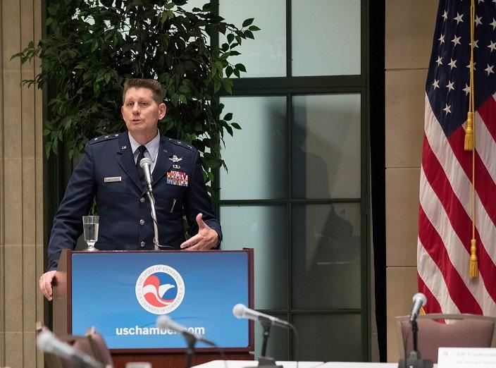 Maj. Gen. Thompson giving keynote address at Chamber Headquarters