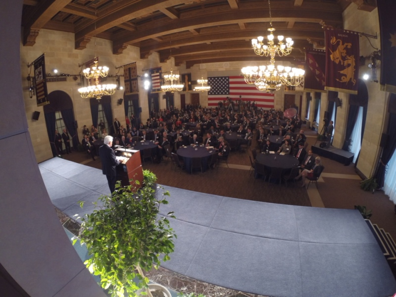 Backdrop of U.S. Chamber of Commerce President and CEO Thomas J. Donohue during his annual State of American Business address