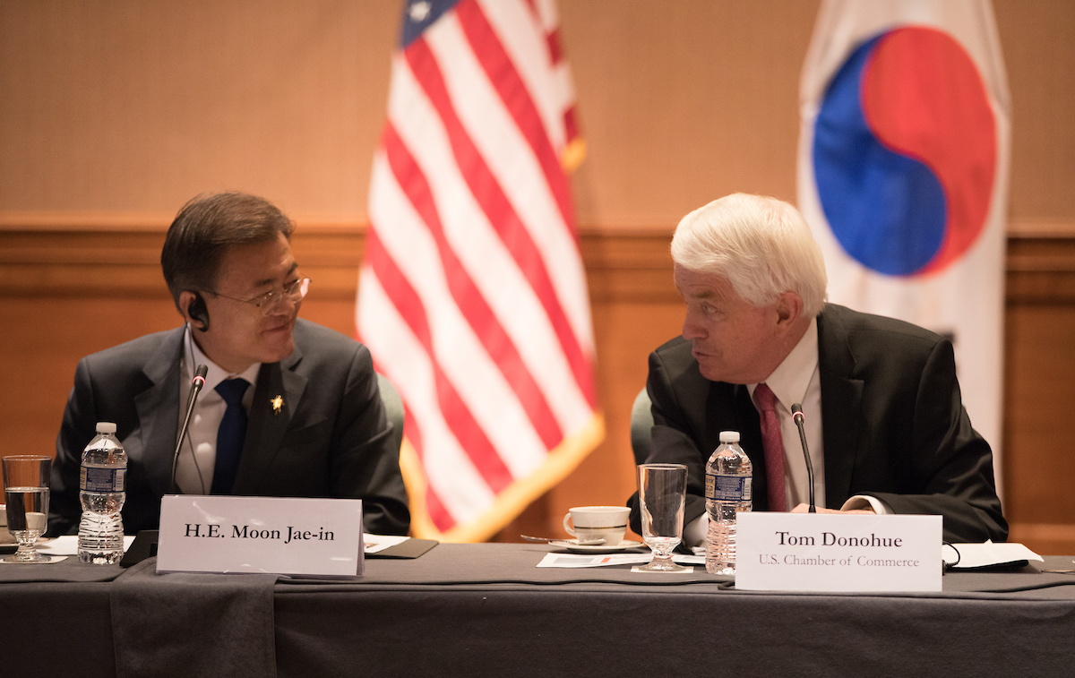 Moon Jae-in and Tom Donohue