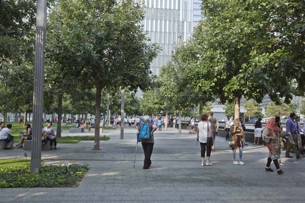 People enjoying the park in lower Manhattan.