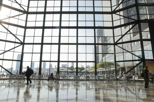 Wall of glass inside Brookfield Place in lower Manhattan.