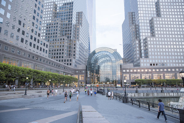 The outside of Brookfield Place, as seen from the Hudson River.