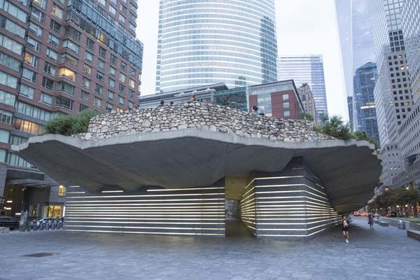 An elevated 'mini park' across the street from the World Trade Center complex.