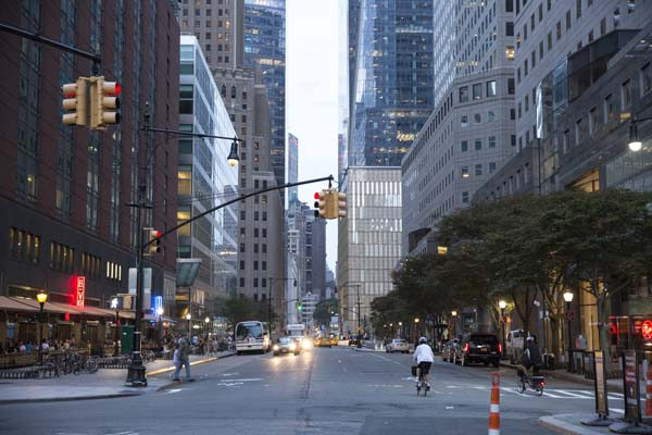 Looking down a street in lower Manhattan near the World Trade Center.
