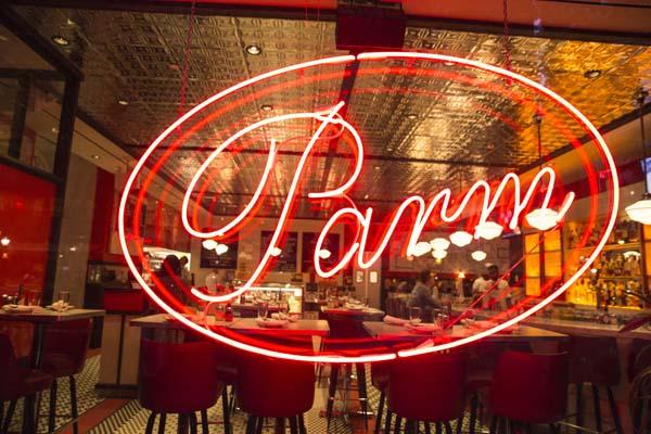 Neon sign from Parm restaurant in lower Manhattan.