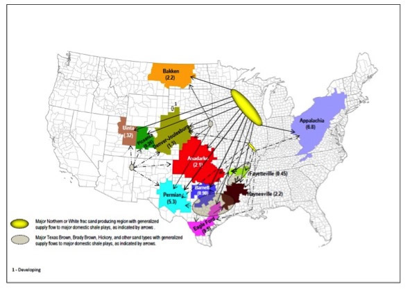 Where frac sand is mined, and where it's going. Source: U.S. Geological Survey.