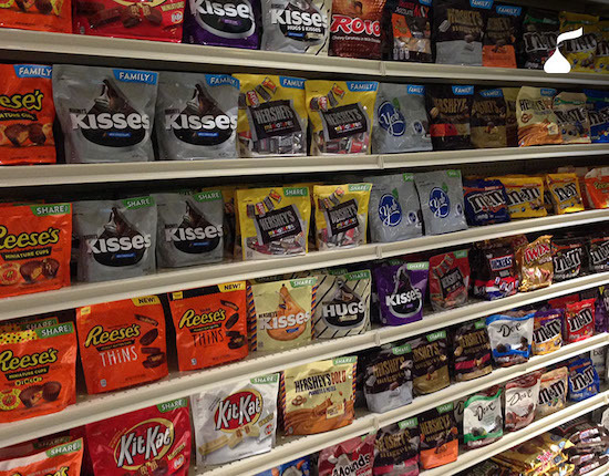 store shelves with hershey products