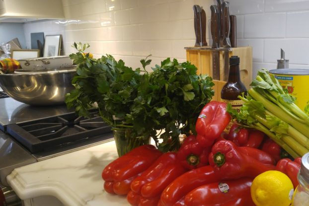 an assortment of vegetables on a kitchen counter displayed by Ask Aunt V