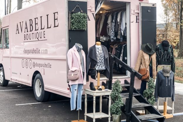 Avabelle Boutique's company truck with clothing and accessories on display