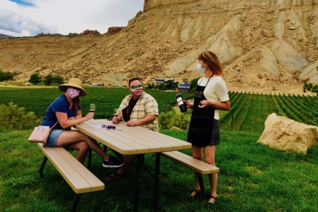 Taking wine-tasting to the great outdoors at Bookcliff Vineyards.