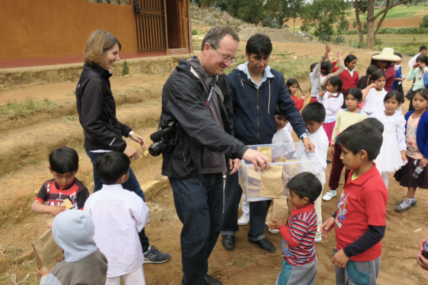 Bill Bass at with Peruvian school children