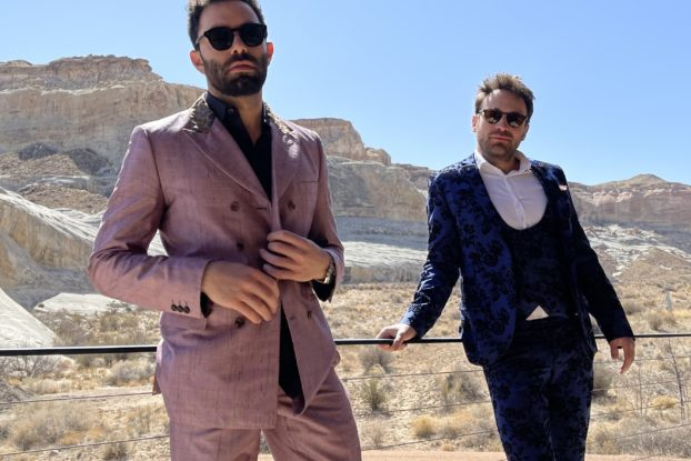 David Dinetz (left) and Dylan Trussel, co-founders of Culprit Underwear, posing in suits.
