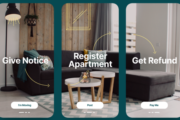 Image of the steps involved in working with Doorkee: Give Notice, Register Apartment, and Get Refund.