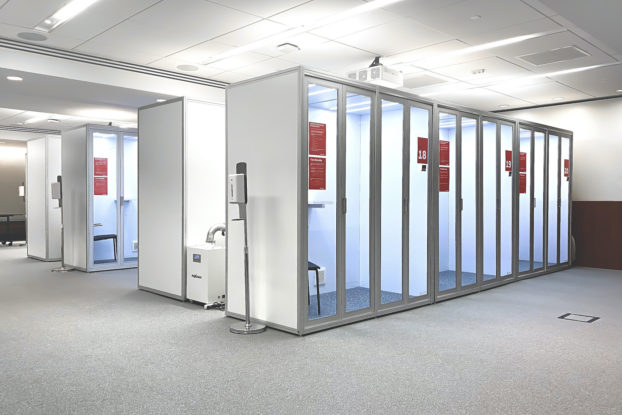 Cubicall's exam pods set up in an office.