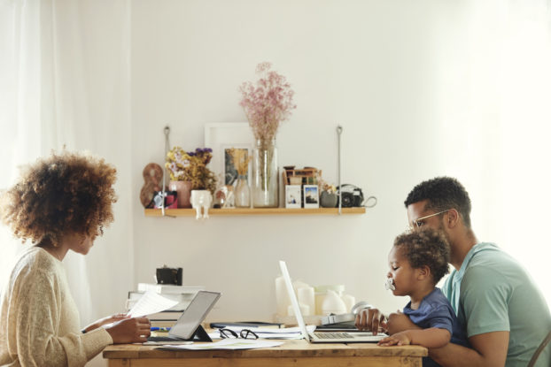 Young family balances work and home life.