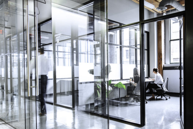 interior of industrious flexible office space