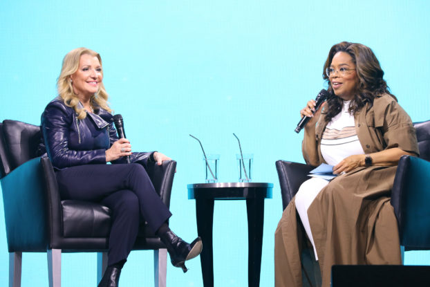 oprah and mindy grossman on stage