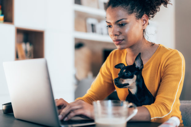 woman working on laptop with puppy on her lap