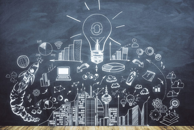 chalk art depicting lightbulb and business idea art