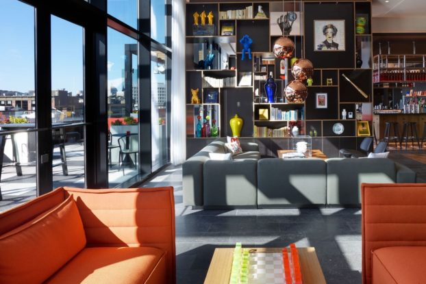 common area in citizenM boston hotel