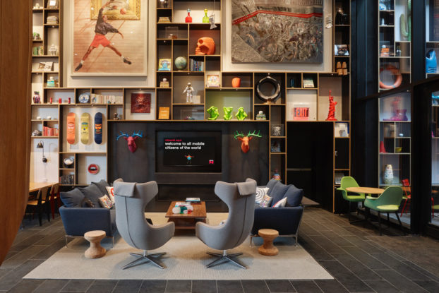 citizenM sitting area inside hotel