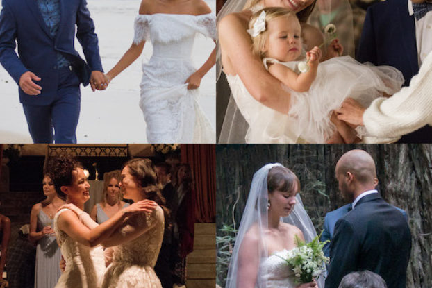 pictures of different brides and grooms on their wedding days