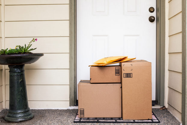 packages left outside the front door of a home