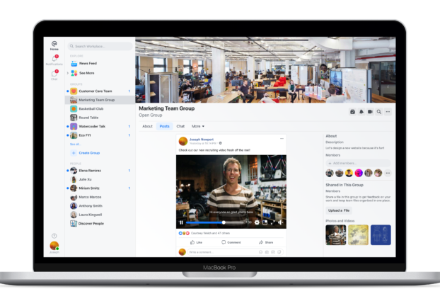 screen shot of facebook workplace on laptop