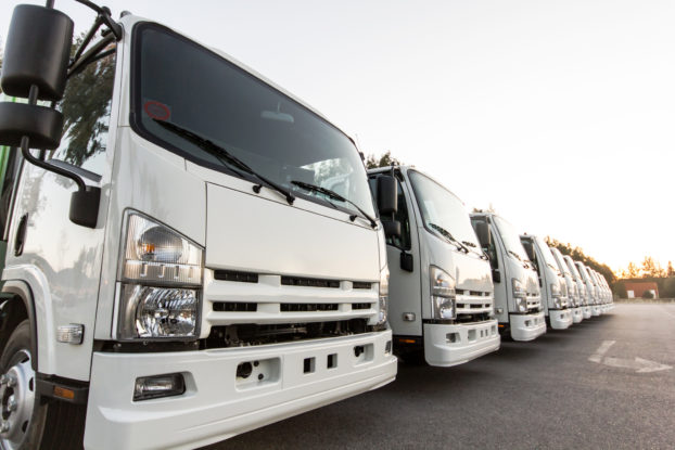 A line of white delivery trucks