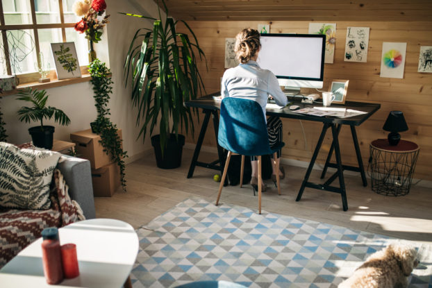 woman working on computer in home