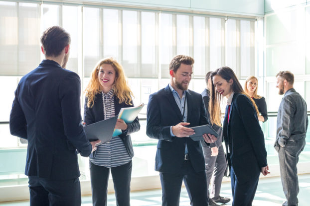a group of professionals at a networking event