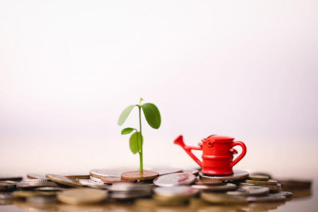 red watering can with seedling on top of coins