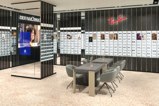 Interior of LensCrafters store.