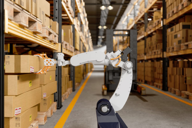 Robot inside a fulfillment center picking packages.