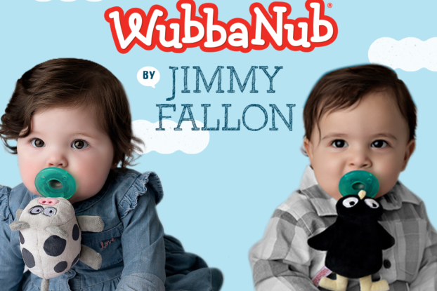 wubbanub ad with babies using wubbanub and jimmy fallon pacifiers