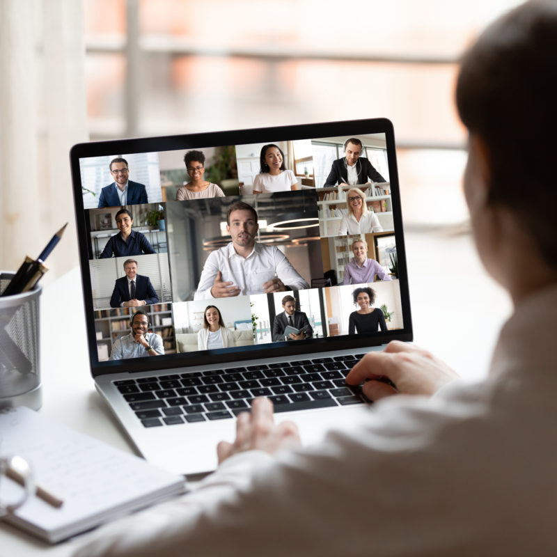 woman on laptop video call