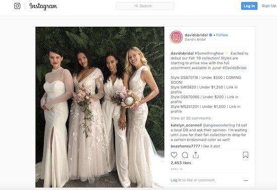 screen shot of david's bridal instagram