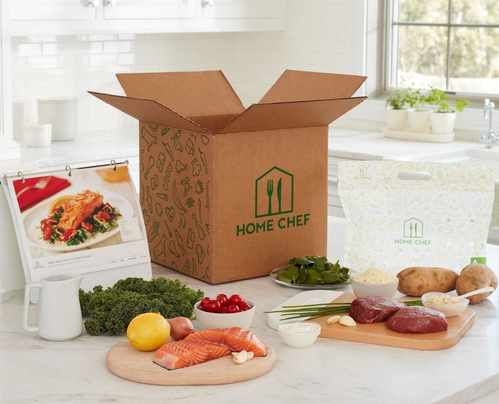 home chef box with ingredients on table